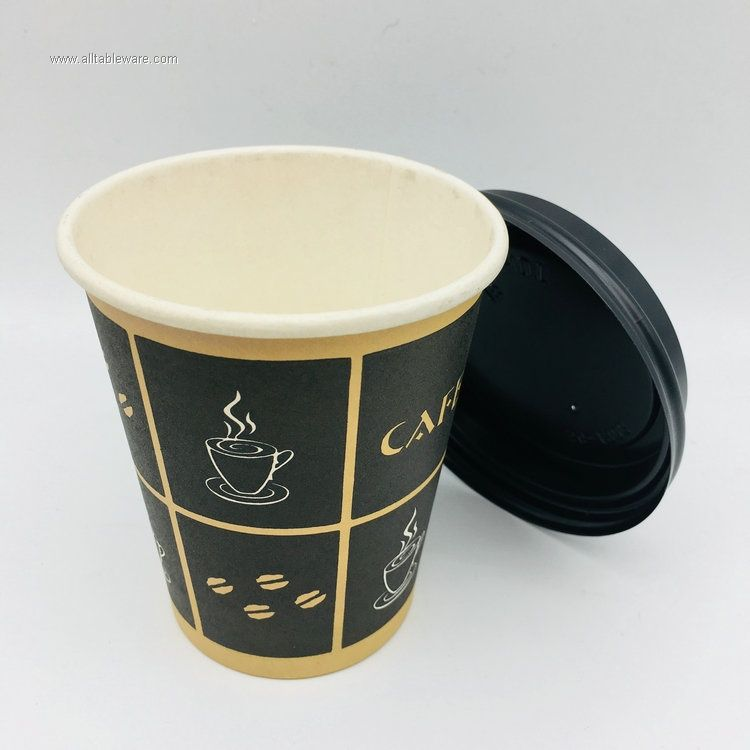 Personalized Logo Different Size  Coffee Tea Disposable Paper Cups with lids