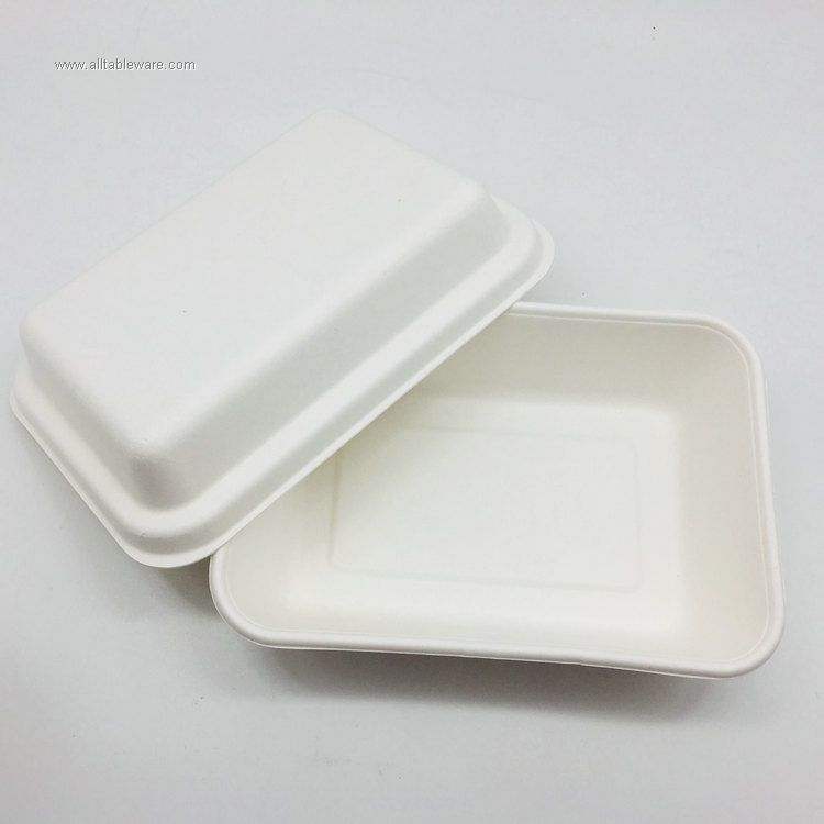 1000ml Biodegradable Packaging Food Bagasse Paper Pulp Tray