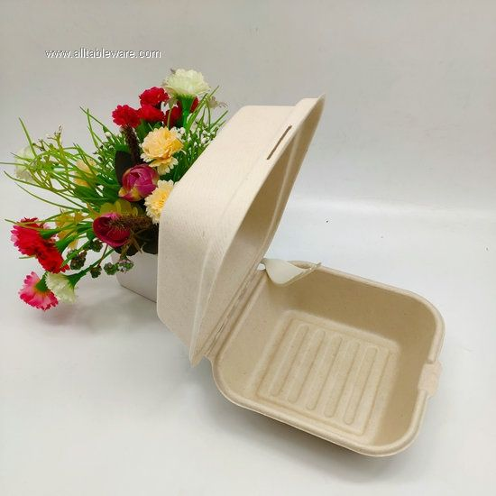 Eco Friendly Biodegradable Burger Box Made From Sugarcane Fast-food Container