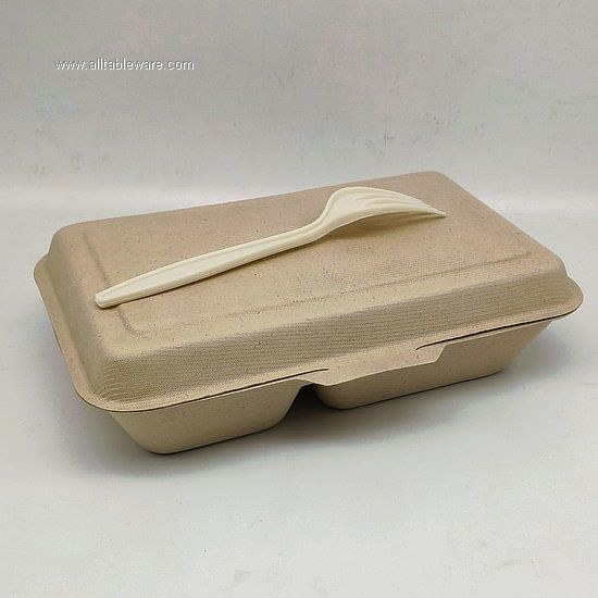 Biodegradable Dinnerware Wheat Straw 2 Compartment Food Container