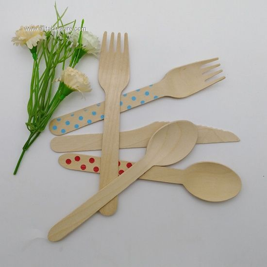 Flatware Sets Spoon Fork Knife Disposable Biodegradable Wooden Cutlery Set