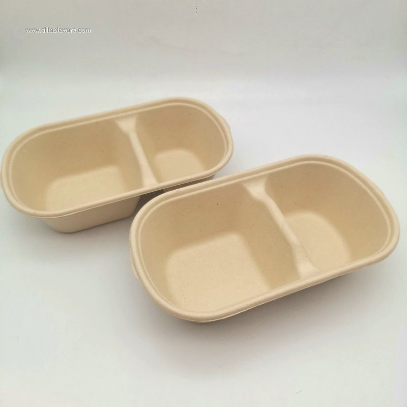 100% biodegradable 2 compartment food container 1000ml bento box with lid