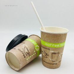 Disposable Hot Drink 100% Biodegrade Paper Cup With Paper Straw