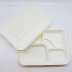 5-Compartments  Corn Starch Food Box With Lids Clamshell For Restaurant