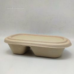 800ml Wheat Straw Natural Disposable Food Salad Container With PET lids