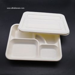 Eco Friendly 5 Compartment Biodegradable Disposable Corn Starch Food Tray With Lid