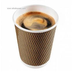 Compostable Eco Friendly Disposable Ripple Wall Hot Paper Coffee Cup With Lids