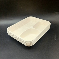 Environmental protection disposable corn starch three-compartment tray